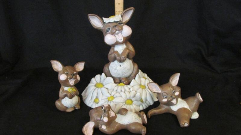 "Large 11"" Ceramic Easter Bunny Family & Base, Hand Painted Laughing Mom 3 Babies"