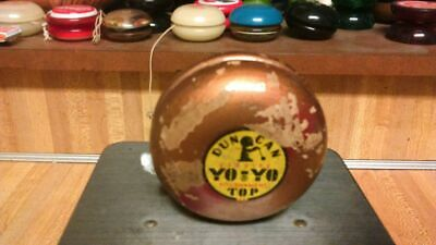 Vintage Duncan Tournament Top Woodem YoYo,gold,1950's,rare,gd!