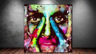 LEINWAND BILD ER XXL POP ART FRAU GESICHT BUNT GRAFFITI MAUER ABSTRAKT 130x130 - Abstrakte Frau Gesicht