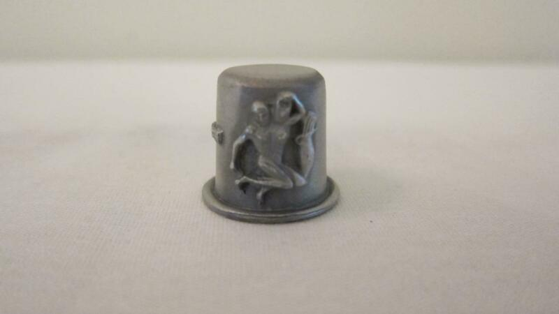 Vintage RR Pewter Sewing Thimble Zodiac Sign Aquarius Water Bearer Person