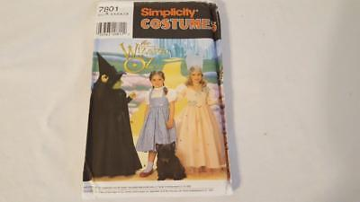 SIMPLICITY PATTERN 7801 COSTUME HALLOWEEN KIDS 3T-8 WIZARD OF OZ DOROTHY WITCHES - 3t Dorothy Costume