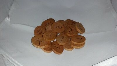 Handmade Oval Wood Rune Set 25 Pieces Elder Futhark