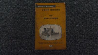 John Deere Jd 63 Bulldozer Dozer Operator Maintenance Owner Manual