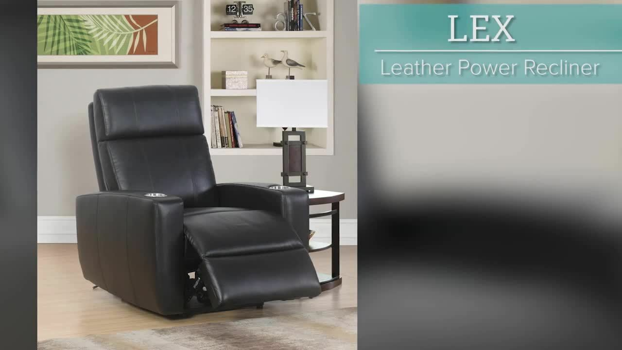 Abbyson Lex Top Grain Leather Power Recliner Brown or Black