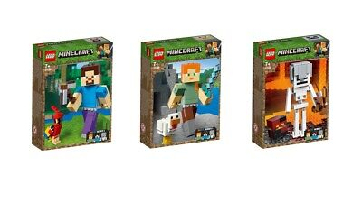 LEGO® Minecraft™ 21148 21149 21150 BIGFIG Serie 1 Set Steve Alex Skelett...