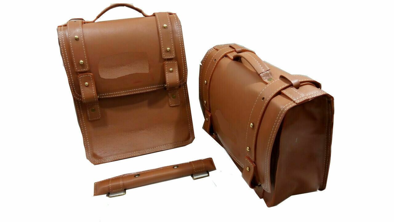 Pure Leather Saddle Bags Tan Color Fit For Royal Enfield Cla