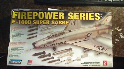 Lindberg Firepower Series 72521 1:48 F-100D Super Sabre Jet Fighter NEW BOX WEAR Sabre Jet Fighter