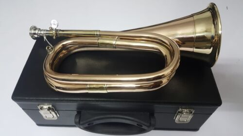 New British Army Style Bb Bugle Tuneable Brass with Silver mouth piece Free case