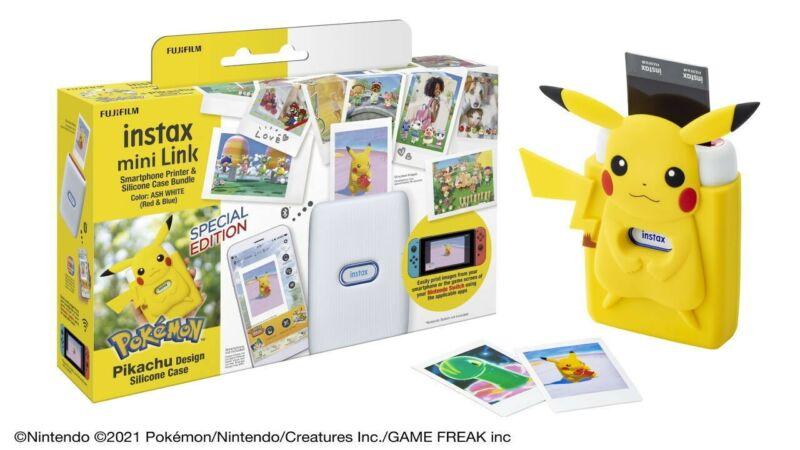 FUJIFILM Instax Mini Link Smartphone Printer POKEMON WITH Pikachu Case IN HANDS!