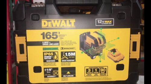 NEW DEWALT DW0825LG 12 VOLT 5 SPOT CROSS LINE LASER LEVEL 155