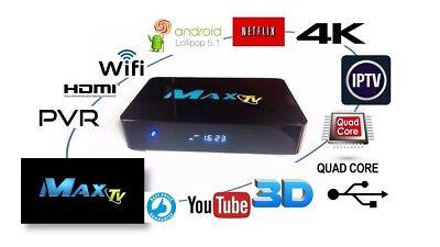 MAX TV 2018 4K IPTV BOX  + ANDROID  7.1  the fastest Set Top Box 2GB/8GB