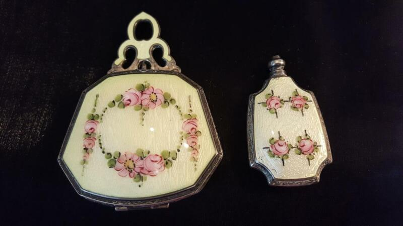 Antique Sterling Silver & Guilloche Matched Set - Compact & Scent Bottle