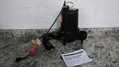Dayton 4hu79 410 Hp 1750 Rpm 120vac 25.0 Ft Max Head Sewage Ejector Pump