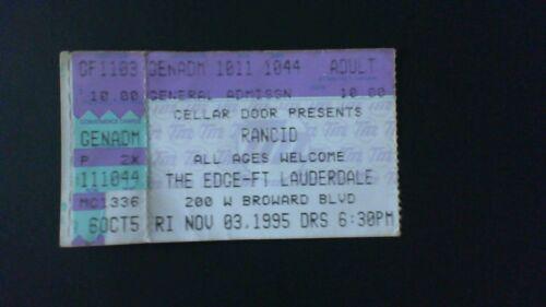 Rancid 1995 Concert Ticket! Punk Rock Operation Ivy Transplants Epitaph Records