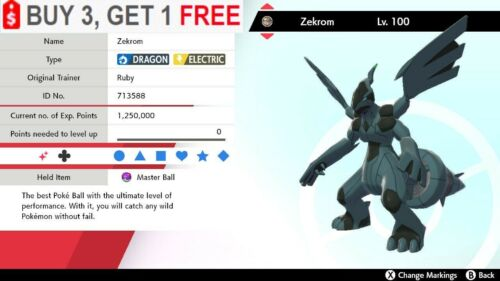 ✨Shiny Zekrom✨Pokemon Sword and Shield Perfect IV🚀Fast Delivery🚀