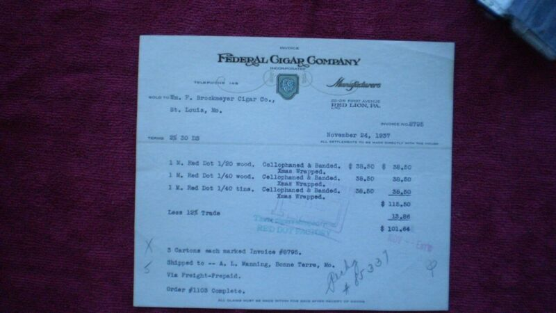 EPHEMERA:FEDERAL CIGAR COMPANY:INVOICE:RED DOT CIGARS;1937:RED LION, PA.:PH 148!