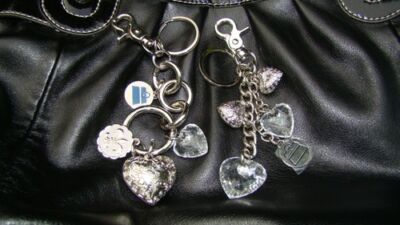 New KATHY Van Zeeland, 2 Different KEY CHAINs with CHARMs. Lot, Silver-tone