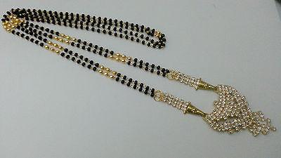 "Indian Wedding Saree Skirt Jewelry Bollywood Mangalsutra Chain Mala 26""Lg #309"