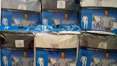 Men's 2pc Stay Warm 100% Cotton Long John Thermal Underwear Sets S-3X SHIPS FREE