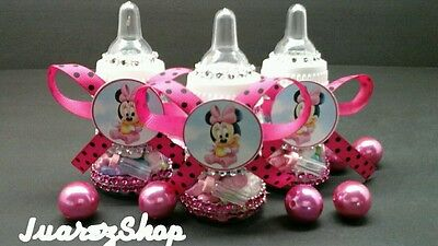 Pink And Black Baby Shower (12 Fillable Minnie Mouse Bottles Baby Shower Black/Pink Girl Party)