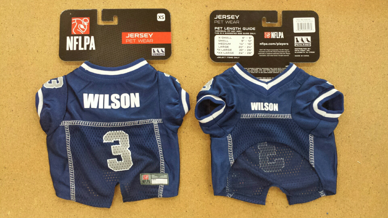 RUSSELL WILSON Seattle Seahawks #3 Licensed NFLPA Dog Jersey Blue ...