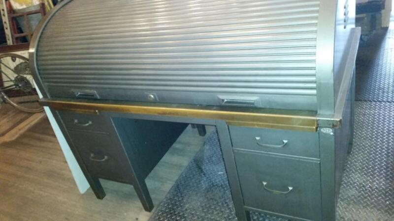 Antique Industrial Machine Age Large Steel Roll Top Desk