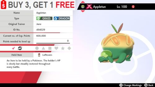 ✨Shiny Appletun✨Pokemon Sword and Shield Gmax Perfect IV Bold 🚀Fast Delivery🚀