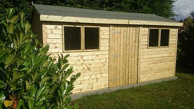 16x10 19mm Apex Tanalised heavy duty Shed