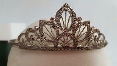 PRETTY SILVERTONE FAUX DIAMOND RHINESTONE WEDDING TIARA, CROWN, COMB FIT, - Fake Crown