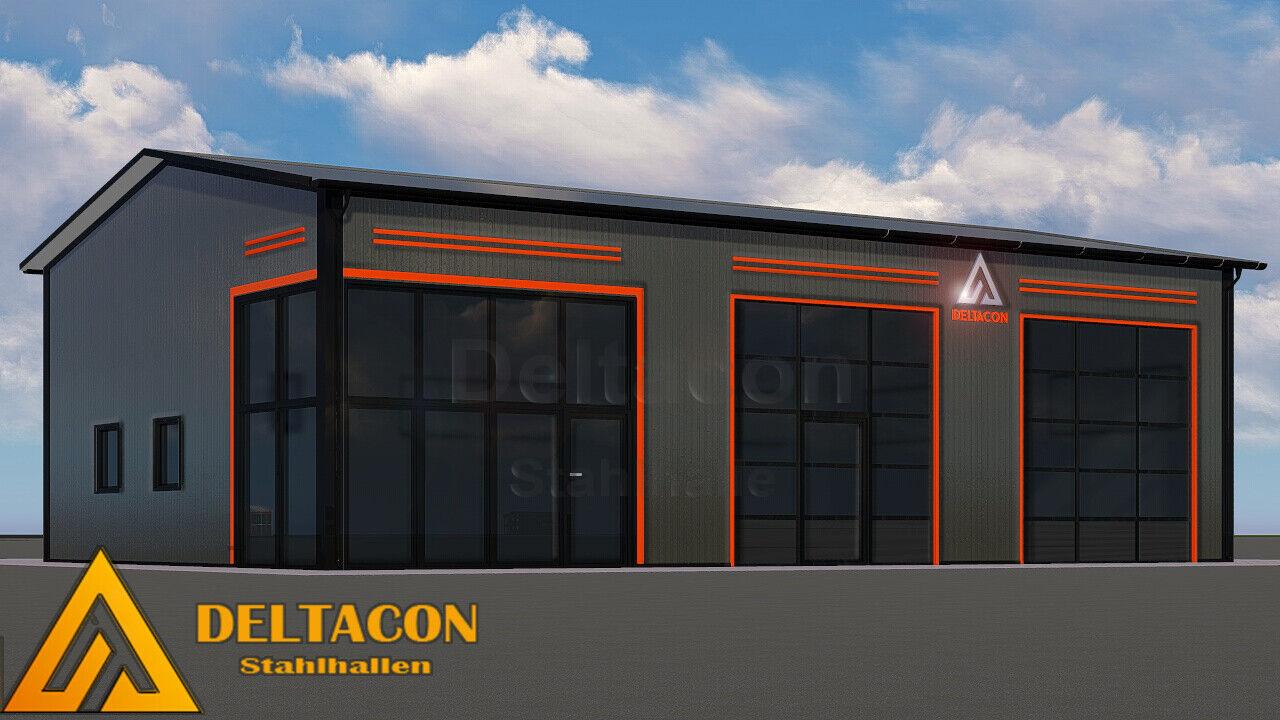 DELTACON Stahlhalle Büro Werkstatt 10 x 15 x LH 4,5/ FH 5,5 m isoliert + neu