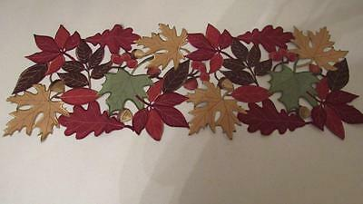- Fall Thanksgiving Scattered Leaves Cut Outs Suede Like Table Runner 36
