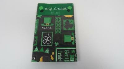 St. Patrick's Day Vinyl Tablecloth Black Lucky Shamrock Kiss Me Luck 5 Sizes NEW - Black Vinyl Tablecloth