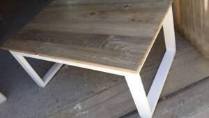 Custom U shaped leg coffee table with pallet wood top