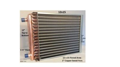 12x15 Water To Air Heat Exchanger1 Copper Ports W Ez Install Front Flange