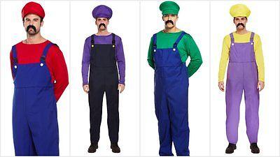 MENS SUPER MARIO BROS LUIGI WARIO WALUIGI FANCY DRESS COSTUME WORKMAN PLUMBER (Wario Kostüm Kostüm)