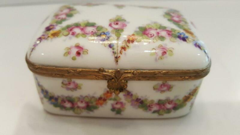 Fine Antique French Sevres Porcelain Casket Trinket box w/ garland swags