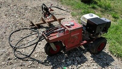 Little Beaver Hydraulic Post Hole Digger W Auger Bar Honda 11hp Runs Great