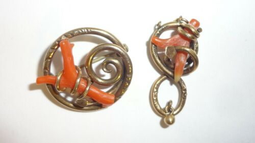 Antique Gold Filled Coral Branch Brooch & Pendant