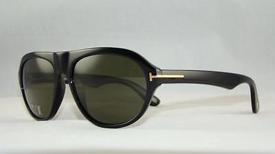 Tom Ford Ivan TF 397 01N BLACK Aviator Sunglasses Green Tempered Lens Size 58