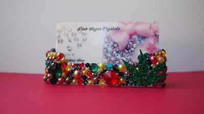 One Love Crystal Business Card Holder Case Spike Pearls Vape Rasta Bling