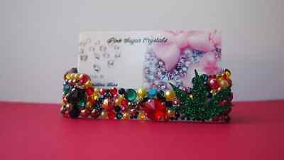 One Love Crystal Business Card Holder Case Spike Pearls Rasta Bling Kawaii Deco