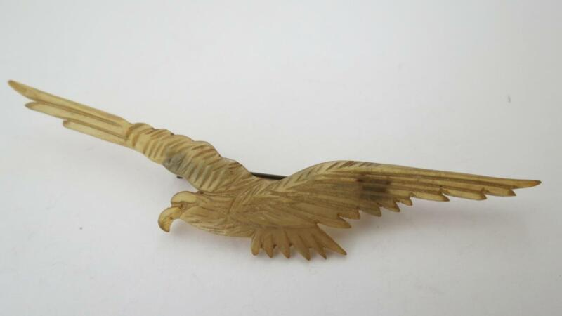 Antique Art Nouveau Carved Pressed Horn Eagle Bird Brooch Pin