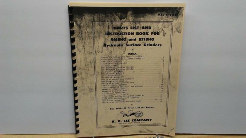 KO Lee S618HG/S718HG Hyd. Surface Grinder Instruction & Parts Manual