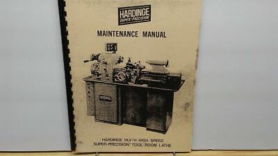 Hardinge Hlv-h Tool Room Lathe Maintenance Manual
