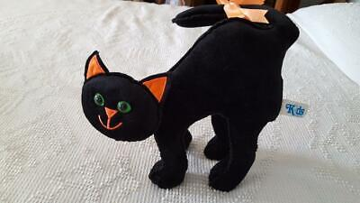 HIGH QUALITY VELVETEEN ORNATE HALLOWEEN BLACK CAT PLUSH STUFFED ANIMAL,13
