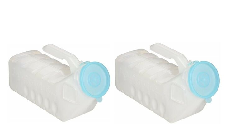 2 Pc 32 Ounce Deluxe Male Urinal Glow in the Dark Incontinence Pee Bottle