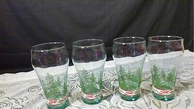Coca -Cola Vintage Christmas Drinking Glasses Christmas Trees set of 4 EUC