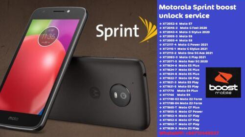 Moto Sprint boost  Remote Unlock Service (motorola) Fast 24/7