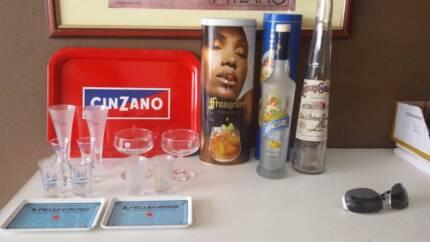 Italian Alcohol Brand Glasses, Trays, Tins & Bottles - 17 Items