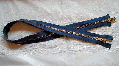 25 inch Blue & Brass 2 Way/2 Nesting Pulls Zipper Separating YKK NOS